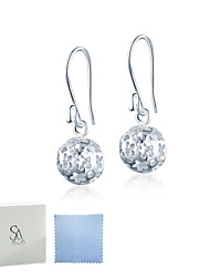 SILVERAGE 925 Sterling Silver Flower Hollow Round Ball Dangle Earrings