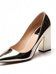 Women's Heels Spring Fall Comfort Leatherette Office & Career Dress Casual Chunky Heel Block Heel Gold Sliver