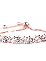 Women's Chain Bracelet Crystal Zircon Cubic Zirconia Bridal Fashion Flower White Silver Golden Rose Gold Jewelry 1pc