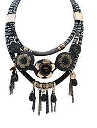 Necklace Layered Necklaces Jewelry Party Flower Bohemian Ethnic Alloy Resin Fabric Women 1pc Gift