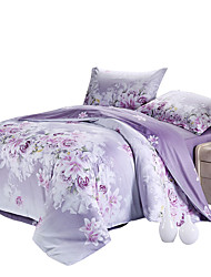 Mingjie 100% Cotton Purple Leaves Bedding Sets 4PCS for Twin Full QueenSize from China Contian 1 Duvet Cover 1 Flatsheet 2 Pillowcases