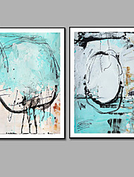 Hand-Painted Abstract 100% Hang-Painted Oil Painting,Modern Two Panels Canvas Oil Painting For Home Decoration