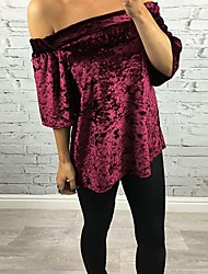 Women's Casual/Daily Sexy Cute T-shirt,Solid Boat Neck ¾ Sleeve Pink Red Black Polyester