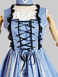 Une Pièce/Robes Doux Princesse Cosplay Vêtrements Lolita Couleur Pleine Sans Manches Genou Robe Pour Coton