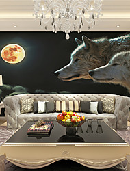 JAMMORY Wallpaper For Home Wall Covering Canvas Adhesive required Mural Wolf Under The Moon XL XXL XXXL