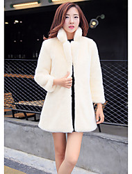 Women's Going out Casual/Daily Simple Street chic Fur Coat,Solid Stand Long Sleeve Winter White Black Rabbit Fur Thick