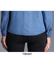 repérer tir réel - nouvelle chemise en jean à manches longues single-breasted européen dentelle jambe chemise cravate