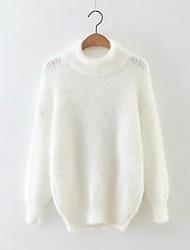 Damen Standard Pullover-Ausgehen Lässig/Alltäglich Einfach Street Schick Solide Weiß Grün Rundhalsausschnitt LangarmKunst-Pelz Kunstseide