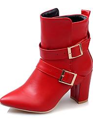 Damen-Stiefel-Party & Festivität Kleid Lässig-Kunstleder-BlockabsatzWeiß Schwarz Rot