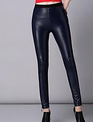 Feminino Skinny Chinos Calças-Cor Única Casual Vintage Simples Cintura Média Elasticidade PU Com Elástico Outono