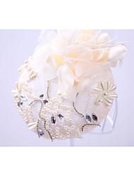 Femme Strass Imitation de perle Lin Mousseline Casque-Mariage Occasion spéciale Extérieur Chapeau 1 Pièce