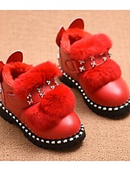 Girl's Baby Boots Comfort Leatherette Casual Pink Red