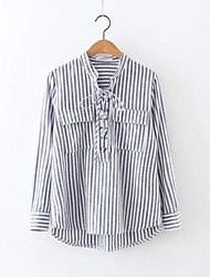 Women's Fine Stripe Going out Casual/Daily Simple Street chic Fall Winter Shirt,Striped Shirt Collar Long Sleeve Cotton Medium
