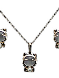 Fashion Super Cute Cat Lucky Cat Imitation Opal Earrings Necklace Set