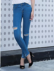 Women's Slim Jeans Pants,Casual/Daily Simple Solid Mid Rise Elasticity Others Micro-elastic Fall / Winter
