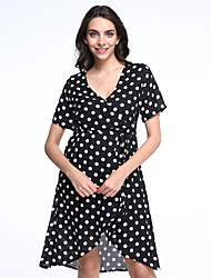 Ample Robe Femme Plage Grandes TaillesPoints Polka V Profond Mi-long Manches Courtes Noir Polyester Printemps Taille Haute Micro-élastique