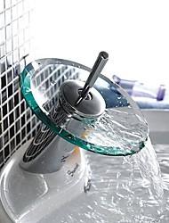 High Quality Stylish Glass Vessel Brass Waterfall Bathroom Sink Faucet