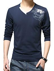 Herren Solide Retro Einfach Chinoiserie Lässig/Alltäglich Arbeit Strand T-shirt,V-Ausschnitt Herbst Winter Langarm Blau SchwarzSeide