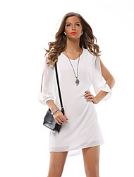 Women's Cut Out Casual/Daily / Work Sexy / Street chic Chiffon Dress,Solid V Neck Above Knee ¾ Sleeve Blue / Pink / White / Black PolyesterAll
