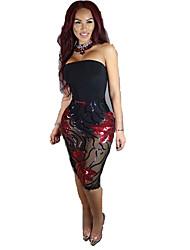 Women's Casual/Daily Sexy Bodycon Dress,Solid Strapless Midi Sleeveless Black Linen Spring Low Rise Micro-elastic Medium