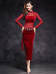 Belly Dance Dress Women's Performance Velvet Lace Splicing 1 Pieces Long Sleeve Natural Dresses