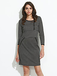 Women's Casual/Daily Simple Sheath Dress,Houndstooth Round Neck Knee-length ½ Length Sleeve White Cotton Fall