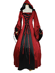 One-Piece/Dress Punk Lolita Victorian Cosplay Lolita Dress Solid Long Sleeve Ankle-length Dress For Charmeuse