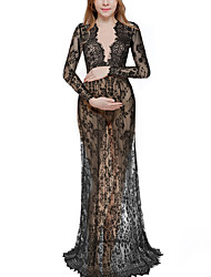 Maternity Sexy Deep V-Neck Long Sleeve Lace Beach Dress See-through Maxi Dress for Pregnancy Shoot