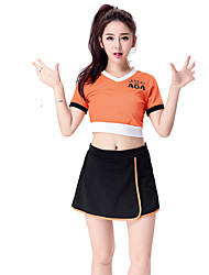 Women Sexy Football Cheerleader Uniform High School Cheering Squad Costumes Solid Top / Skirt