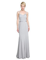 LAN TING BRIDE Court Train Spaghetti Straps Bridesmaid Dress - Color Block Sleeveless Jersey