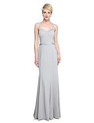 Sheath / Column Spaghetti Straps Court Train Jersey Bridesmaid Dress with Sash / Ribbon by LAN TING BRIDE®