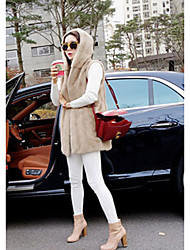 Women's Going out Casual/Daily Vintage Simple Fur Coat,Solid Hooded Long Sleeve Winter Black Gray Faux Fur Thick