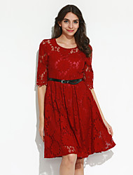 Women's Casual/Daily Simple Lace Dress,Jacquard Round Neck Knee-length ¾ Sleeve Red / White / Black Polyester Summer