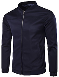 Men's Fashion Slim Simple Solid Color Jacket Solid Stand Long Sleeve Fall Blue Cotton Polyester Medium