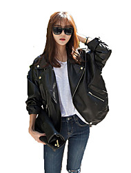 Women's Casual/Daily Punk & Gothic Leather Jackets,Solid Shirt Collar Long Sleeve Winter Black Special Leather Types Medium