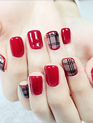 24 Pcs Sexy Wine Red And Black Silk Fan Brief Paragraph Nail A Piece Of Hand White False Nails Fake Nails Patch