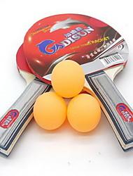 Tischtennis-Schläger Ping Pang Holz Langer Griff Pickel 2 Schläger 3 Tischtennisbälle Drinnen-#