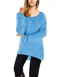 Damen Lang Pullover-Lässig/Alltäglich Einfach Solide Blau Rosa Rot Beige Schwarz Braun Grau Rundhalsausschnitt Langarm BaumwolleHerbst