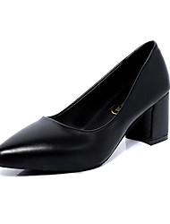 Women's Heels Fall Comfort PU Casual Chunky Heel Hollow-out Black Red Gray Walking