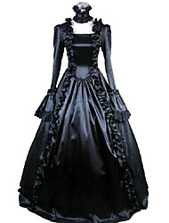 One-Piece/Dress Gothic Lolita Cosplay Lolita Dress Solid Long Sleeve Ankle-length Dress For Charmeuse