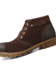 Men's Boots Spring Fall Comfort Suede Casual Flat Heel Lace-up Khaki Coffee Walking