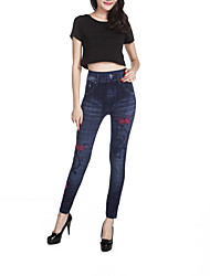 Women's Slim Jeans Pants,Casual/Daily Simple Print Mid Rise Elasticity Others Stretchy Spring / Fall