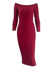 Women's Casual/Daily Club Simple Street chic Bodycon DressSolid Knit Grace Boat Neck Midi Long Sleeve Spring Fall Mid Rise