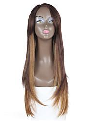 cabelos lisos perucas sintéticas novo estilo de cabelo marrom parte dianteira do laço