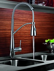 Contemporary Pull-out/­Pull-down Vessel Pullout Spray with  Ceramic Valve Single Handle One Hole for  Chrome , Kitchen faucet