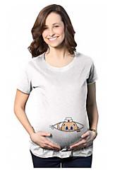 T-shirt Casual Semplice Primavera Estate,Tinta unita Rotonda Cotone Manica corta Medio spessore