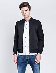 Herren Solide Einfach Lässig/Alltäglich Jacke,Herbst Ständer Langarm Schwarz Dünn Polyester