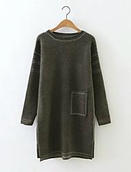 Damen Lang Pullover-Ausgehen Lässig/Alltäglich Einfach Street Schick Solide Rot Schwarz Grün Rundhalsausschnitt LangarmKunst-Pelz
