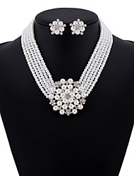 Jewelry 1 Necklace 1 Pair of Earrings Pearl Daily Pearl 1set Women White Wedding Gifts