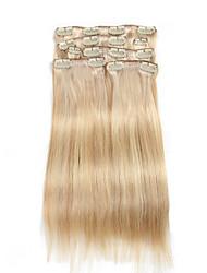 7 шт / комплект клип в наращивание волос цвет рояля смешанный бежевый отбеливатель блондинка 14inch 18inch 100% человеческих волос для